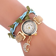 preiswerte Damenuhren-Damen Armband-Uhr Chinesisch Armbanduhren für den Alltag / lieblich / Imitation Diamant PU Band Charme / Blätter Schwarz / Weiß / Blau