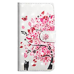 Недорогие Кейсы для iPhone X-Кейс для Назначение Apple iPhone X / iPhone 8 Plus Кошелек / Бумажник для карт / со стендом Чехол Кот / дерево Твердый Кожа PU для iPhone