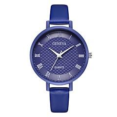 お買い得  レディース腕時計-Geneva 女性用 リストウォッチ 中国 新デザイン / カジュアルウォッチ / クール レザー バンド カジュアル / ファッション ブラック / ブルー / ピンク