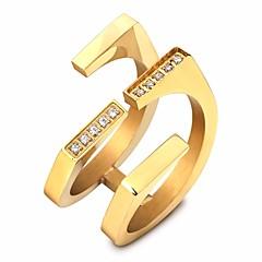 preiswerte Ringe-Paar Kubikzirkonia Stilvoll Öffne den Ring - Titanstahl Kreativ Künstlerisch, Einzigartiges Design, Koreanisch 6 / 7 / 8 / 9 Gold / Silber Für Geburtstag Geschenk