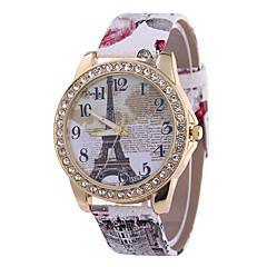 preiswerte Damenuhren-Damen Armbanduhr Quartz Armbanduhren für den Alltag PU Band Analog Eiffelturm Modisch Schwarz / Weiß / Blau - Rot Blau Rosa