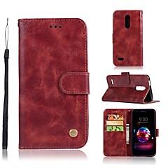 Недорогие Чехлы и кейсы для LG-Кейс для Назначение LG Q8 / LG Q7 Кошелек / Бумажник для карт / со стендом Чехол Однотонный Твердый Кожа PU для LG X Style / LG X Power / LG V30