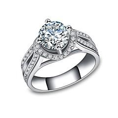 preiswerte Ringe-Damen Kubikzirkonia Stapel Ring / Verlobungsring - Platiert Luxus, Romantisch 6 / 7 / 8 Weiß Für Verlobung / Geschenk