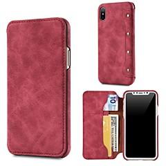 Недорогие Кейсы для iPhone 7-Кейс для Назначение Apple iPhone X / iPhone 8 Кошелек / Бумажник для карт / Флип Чехол Однотонный Твердый Настоящая кожа для iPhone X / iPhone 8 Pluss / iPhone 8