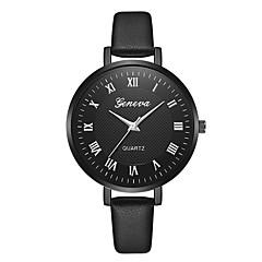 preiswerte Damenuhren-Geneva Damen Armbanduhr Chinesisch Neues Design / Armbanduhren für den Alltag / Cool Leder Band Freizeit / Modisch Schwarz / Braun