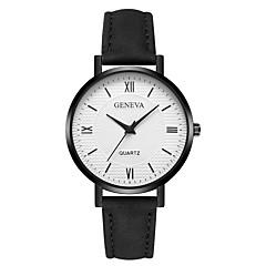 お買い得  レディース腕時計-Geneva 女性用 リストウォッチ 中国 新デザイン / カジュアルウォッチ / クール レザー バンド カジュアル / ファッション ブラック / 白 / ブラウン