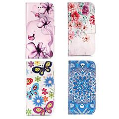 Недорогие Кейсы для iPhone 5-Кейс для Назначение Apple iPhone X / iPhone 8 Кошелек / Бумажник для карт / со стендом Чехол Цветы Твердый Кожа PU для iPhone X / iPhone 8 Pluss / iPhone 8