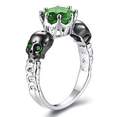 preiswerte Ringe-Damen Stilvoll Skulptur Ring - Kupfer, Platiert, Diamantimitate Totenkopf Punk, Hip-Hop 6 / 7 / 8 / 9 Rot / Grün / Blau Für Maskerade Klub