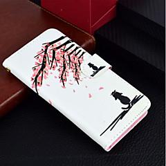 Недорогие Кейсы для iPhone 7-Кейс для Назначение Apple iPhone X / iPhone 8 Plus Кошелек / Бумажник для карт / со стендом Чехол Кот / Цветы Твердый Кожа PU для iPhone X / iPhone 8 Pluss / iPhone 8