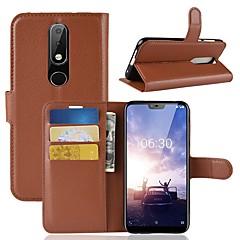 Недорогие Чехлы и кейсы для Nokia-Кейс для Назначение Nokia Nokia 5.1 / Nokia X6 Кошелек / Бумажник для карт / Флип Чехол Однотонный Твердый Кожа PU для Nokia 8 / 8 Sirocco / Nokia 7 / Nokia 6