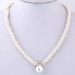 abordables Collares-Mujer Cuentas Collar de hebras - Perla Artificial, Brillante Europeo, Moda, Elegante Blanco 40 cm Gargantillas Joyas 1pc Para Diario