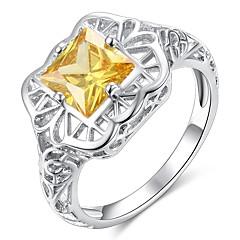 preiswerte Ringe-Damen Klassisch Hohl Ring - Kupfer, Platiert, Diamantimitate Kreativ Klassisch, Elegant, Britisch 6 / 7 / 8 / 9 / 10 Gelb Für Hochzeit Party
