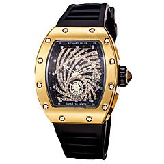 お買い得  メンズ腕時計-男性用 スポーツウォッチ / リストウォッチ 中国 クロノグラフ付き / 透かし加工 / 新デザイン シリコーン バンド ぜいたく / 光沢タイプ ブラック