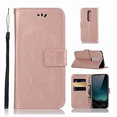 Недорогие Чехлы и кейсы для Nokia-Кейс для Назначение Nokia Nokia X6 Кошелек / Бумажник для карт / со стендом Чехол Сова Твердый Кожа PU для Nokia X6