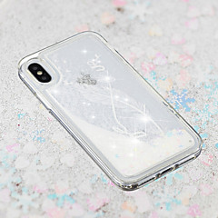 Недорогие Кейсы для iPhone 5-Кейс для Назначение Apple iPhone X / iPhone 8 Plus Движущаяся жидкость / Прозрачный / С узором Кейс на заднюю панель Перья Мягкий ТПУ для iPhone X / iPhone 8 Pluss / iPhone 8