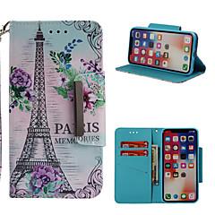 Недорогие Кейсы для iPhone X-Кейс для Назначение Apple iPhone X / iPhone 8 Plus Кошелек / Бумажник для карт / со стендом Чехол Эйфелева башня Твердый Кожа PU для iPhone X / iPhone 8 Pluss / iPhone 8