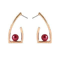 お買い得  イヤリング-女性用 幾何学模様 スタッドピアス  -  人造真珠 シンプル, 欧風, ファッション ゴールド / ホワイト / レッド 用途 日常