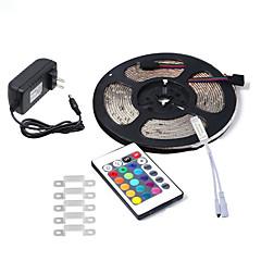 お買い得  LED ストリングライト-HKV 5m フレキシブルLEDライトストリップ 300 LED 3528 SMD 1 24キーリモコン / 1 x 2A電源アダプタ RGB 防水 / カット可能 / 接続可 100-240 V