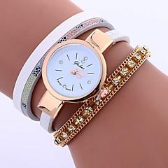 preiswerte Damenuhren-Damen Armband-Uhr Chinesisch Armbanduhren für den Alltag / Imitation Diamant PU Band Freizeit / Modisch Weiß / Blau / Rot