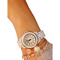 お買い得  レディース腕時計-女性用 リストウォッチ クロノグラフ付き / カジュアルウォッチ / かわいい セラミック バンド バングル / エレガント ブラック / 白