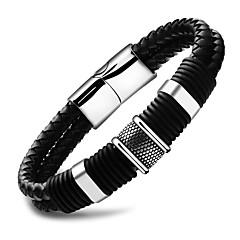 お買い得  ブレスレット-男性用 編み レザーブレスレット  -  レザー 創造的 シンプル ブレスレット ブラック 用途 日常