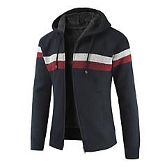 ieftine Bluze de Bărbați și Cardigane-Bărbați Zilnic Dungi Manșon Lung Regular Cardigan, Capișon Roșu-aprins / Bleumarin / Gri Deschis XL / XXL / XXXL