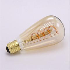 お買い得  LED 電球-1個 4 W 300 lm E26 / E27 フィラメントタイプLED電球 ST64 1 LEDビーズ COB 装飾用 / ソフトフィラメント 温白色 85-265 V