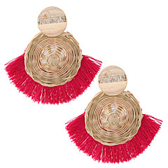 お買い得  イヤリング-女性用 タッセル 編み ドロップイヤリング  -  欧風, エスニック, ファッション レッド / グリーン / ダークネービー 用途 カジュアル ストリート