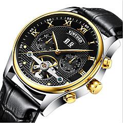 お買い得  メンズ腕時計-KINYUED 男性用 スケルトン腕時計 リストウォッチ 機械式時計 日本産 自動巻き 30 m 耐水 カレンダー クロノグラフ付き レザー バンド ハンズ ぜいたく ドレスウォッチ ブラック / ブラウン - ブラック ゴールデンブラウン ゴールドとブラック