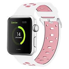 お買い得  腕時計用アクセサリー-シリカゲル 時計バンド ストラップ のために Apple Watch Series 3 / 2 / 1 ブラック / 白 / ブルー 23センチメートル / 9インチ 2.1cm / 0.83 Inch
