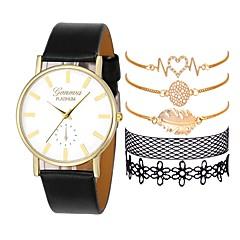 お買い得  レディース腕時計-女性用 ドレスウォッチ クォーツ クロノグラフ付き クリエイティブ 新デザイン レザー バンド ハンズ ファッション エレガント ブラック / 白 / ブラウン - ブラック Brown ブラック / ホワイト 1年間 電池寿命
