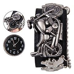 preiswerte Herrenuhren-Herrn Armbanduhr digital Echtes Leder Bandmaterial Schwarz Armbanduhren für den Alltag Cool Analog Totenkopf Modisch - Schwarz