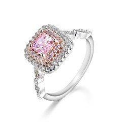 preiswerte Ringe-Damen Kubikzirkonia Stilvoll Ring - Platiert, S925 Sterling Silber Romantisch 6 / 7 / 8 / 9 / 10 Rosa Für Verlobung Geschenk
