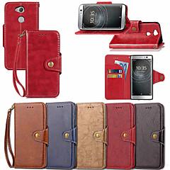 Недорогие Чехлы и кейсы для Sony-Кейс для Назначение Sony Xperia XZ2 Compact / Xperia XA2 Ultra Кошелек / Бумажник для карт / со стендом Чехол Однотонный Твердый Кожа PU для Xperia XZ2 Compact / Xperia XZ2 / Xperia XA2 Ultra