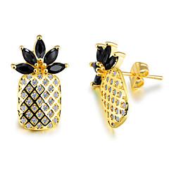 preiswerte Ohrringe-Damen Kubikzirkonia Skulptur Ohrstecker - vergoldet Ananas Stilvoll, Koreanisch Schwarz / Dunkelblau / Grün Für Alltag