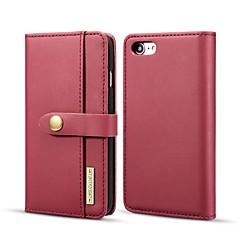 Недорогие Кейсы для iPhone 7-Кейс для Назначение Apple iPhone 8 / iPhone 7 Кошелек / Бумажник для карт / со стендом Чехол Однотонный Твердый Настоящая кожа для iPhone 8 / iPhone 7