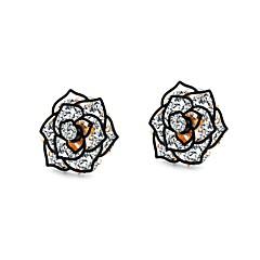 preiswerte Ohrringe-Damen Weiß Weiß Kubikzirkonia Ohrstecker - Platiert, Rose Gold überzogen Flower Shape Retro, Modisch, Koreanisch Gold / Schwarz Für Alltag