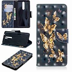 Недорогие Чехлы и кейсы для Nokia-Кейс для Назначение Nokia Nokia 5.1 / Nokia 3.1 Кошелек / Бумажник для карт / со стендом Чехол Бабочка Твердый Кожа PU для Nokia 5.1 / Nokia 3.1 / Nokia 2.1