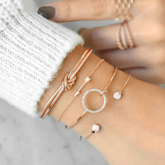 cheap Bracelets-Women's Cubic Zirconia Twisted Bracelet Bangles Cuff Bracelet - Arrow Simple, Casual / Sporty, Boho Bracelet Gold / Silver For Graduation Gift Daily / 4pcs