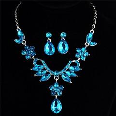 Χαμηλού Κόστους Γυναικεία κοσμήματα-Γυναικεία Μπλε Cubic Zirconia Ιχνος  Κοσμήματα Σετ Στρας Λουλούδι 681db38811e