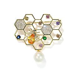 お買い得  ブローチ-女性用 クリスタル ブローチ  -  真珠, ゴールドメッキ ミツバチ スタイリッシュ ブローチ ゴールド 用途 日常