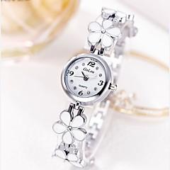 preiswerte Damenuhren-Damen Armband-Uhr Quartz Armbanduhren für den Alltag Edelstahl Band Analog Blume Freizeit Silber / Gold - Silber Gold