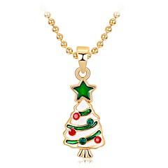 preiswerte Halsketten-Damen 3D Anhängerketten - Strass Weihnachtsbaum Klassisch, Süß, Modisch Niedlich, lieblich Regenbogen 47 cm Modische Halsketten Schmuck 1pc Für Weihnachten, Neujahr