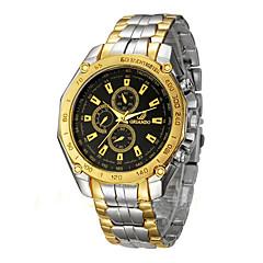 お買い得  メンズ腕時計-男性用 ドレスウォッチ クォーツ 30 m クロノグラフ付き クリエイティブ 新デザイン ステンレス バンド ハンズ ぜいたく エレガント シルバー / ゴールド - ゴールドとブラック 銀色 / ホワイト ゴールド / ホワイト 1年間 電池寿命