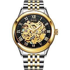 お買い得  メンズ腕時計-Angela Bos 男性用 機械式時計 自動巻き 30 m 耐水 カジュアルウォッチ ステンレス バンド ハンズ カジュアル ファッション ゴールド - ゴールドとブラック ゴールド / ホワイト ゴールド / シルバー / ホワイト
