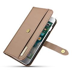 Недорогие Кейсы для iPhone-Кейс для Назначение Apple iPhone 8 Plus / iPhone 7 Plus Кошелек / Бумажник для карт / со стендом Чехол Однотонный Твердый Настоящая кожа для iPhone 8 Pluss / iPhone 7 Plus