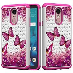 Недорогие Чехлы и кейсы для LG-Кейс для Назначение LG K10 2018 / G7 Защита от удара / Стразы Кейс на заднюю панель Бабочка / Стразы Твердый ПК для LG Stylo 4 / LG K10 2018 / LG K10 (2017)
