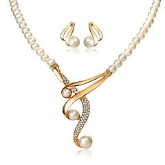 abordables Bijoux pour Femme-Femme Classique Ensemble de bijoux - Imitation de perle Elégant Comprendre Collier Boucles d'Oreille Blanc Pour Soirée Festival