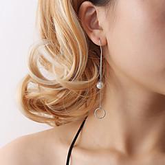 preiswerte Ohrringe-Damen Lang Tropfen-Ohrringe - Künstliche Perle Kugel Anhänger Stil, Elegant Silber Für Ausgehen Arbeit