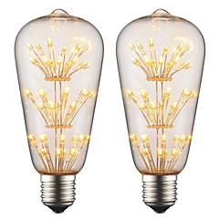 preiswerte LED-Birnen-2pcs 2 W 150 lm E26 / E27 LED Glühlampen ST64 3 LED-Perlen Hochleistungs - LED Dekorativ / Weiches Filament Warmes Weiß 220-240 V